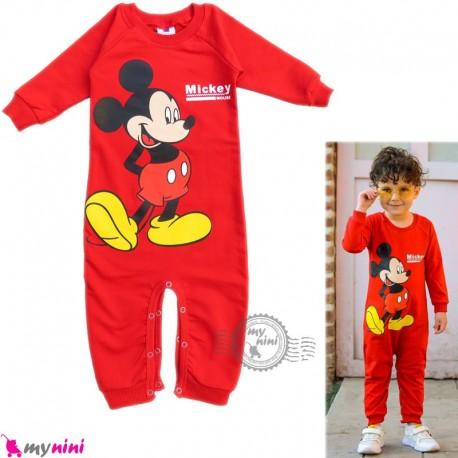 لباس سرهمی بچگانه نخی دورس قرمز میکی موس Baby cotton sleepsuits