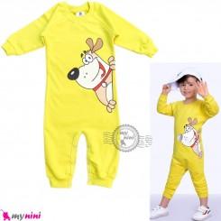 لباس سرهمی بچگانه نخی دورس زرد سگ Baby cotton sleepsuits