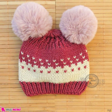 کلاه بافت پوم پوم نوزاد و کودک Baby warm pom pom hat