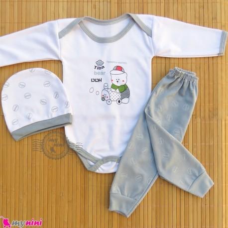 ست 3 تکه بادی بلند و شلوار و کلاه سفید طوسی خرس تدی Baby clothes set