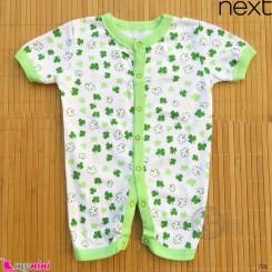رامپر نوزاد و کودک نخ پنبه ای مارک نکست سفید و سبز برگ Next Baby rompers