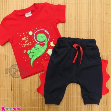ست تیشرت و شلوارک نخ پنبه ای بچگانه قرمز سرمه ای دایناسور baby clothes set