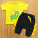 ست تیشرت و شلوارک نخ پنبه ای بچگانه زرد سرمه ای دایناسور baby clothes set