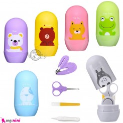 ست مانیکور نوزاد و کودک وارداتی 5 تکه کارتونی حیوانات Baby nail clipper and scissor barrel set