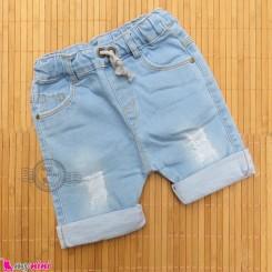 شلوارک لی بچه گانه کمرکشی آبی روشن Baby jeans short pants