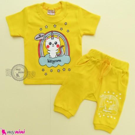 ست تیشرت و شلوارک نخ پنبه ای بچگانه کیتی کورن زرد baby clothes set