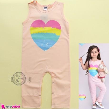 اورال بچگانه نخی صورتی قلب cotton baby overall