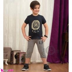 ست تیشرت و شلوارک بچگانه ذغالی شیر baby clothes set