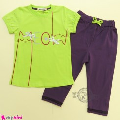 ست تیشرت و شلوارک نخ پنبه ای بچگانه سبز بنفش گربه baby clothes set
