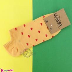 جوراب قلبی زنانه نخی سایز 36 تا 40 رنگ زرد women cotton socks