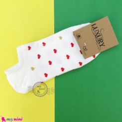 جوراب قلبی زنانه نخی نانو سفید women cotton socks