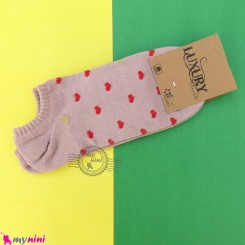 جوراب قلبی زنانه نخی نانو کالباسی women cotton socks