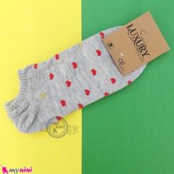 جوراب قلبی زنانه نخی نانو طوسی women cotton socks