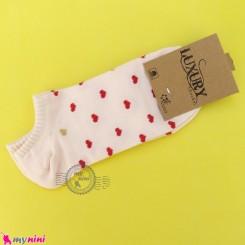 جوراب قلبی زنانه نخی سایز 36 تا 40 رنگ گلبهی یخی women cotton socks
