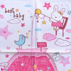 زیرانداز تعویض نوزاد دو رو حوله ای نایلونی سایز بزرگ صورتی خرگوش و ستاره Newborn Mat