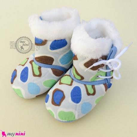 بوت نوزاد و کودک بندی آبی طرح سنگی baby boot