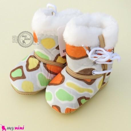 بوت نوزاد و کودک بندی زرد و سبز طرح سنگی baby boot