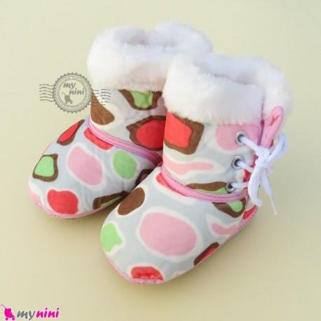 بوت نوزاد و کودک بندی صورتی طرح سنگی baby boot