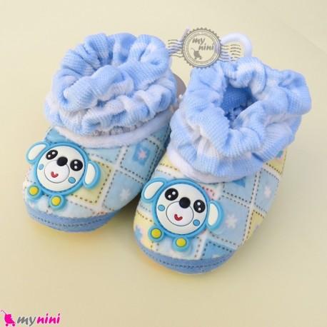 پاپوش مخملی نوزاد و کودک وارداتی آبی چهارخانه موشی Baby footwear