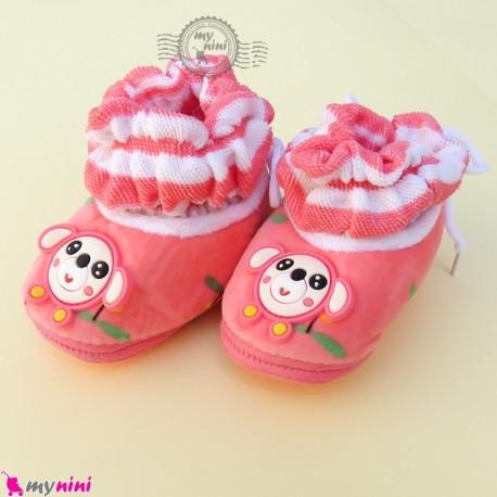پاپوش مخملی نوزاد و کودک وارداتی سرخابی موشی Baby footwear