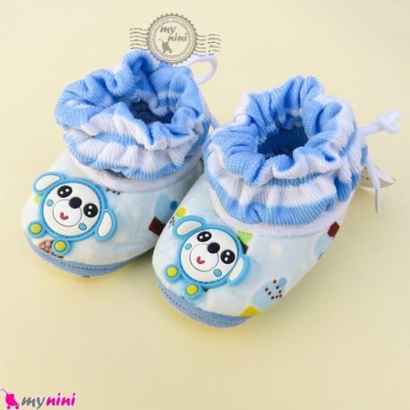 پاپوش مخملی نوزاد و کودک وارداتی آبی کاپ کیک و موشی Baby footwear