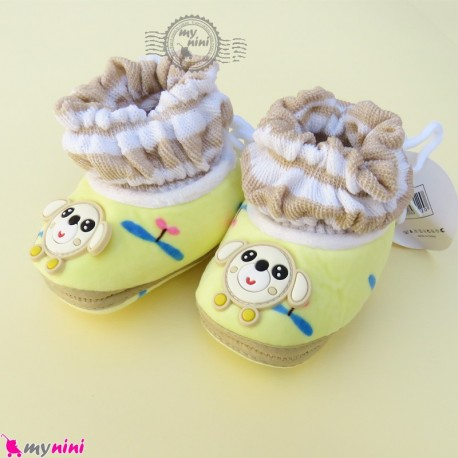 پاپوش مخملی نوزاد و کودک وارداتی لیمویی موشی Baby footwear