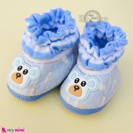 پاپوش مخملی نوزاد و کودک وارداتی آبی خرسی Baby footwear