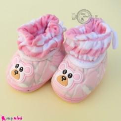 پاپوش مخملی نوزاد و کودک وارداتی صورتی خرسی Baby footwear