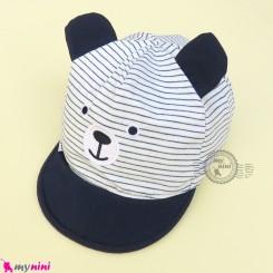 کلاه نقابدار بچه گانه اسپرت سرمه ای راه راه خرس گوش دار baby cotton cap