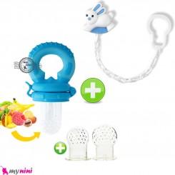ست پستانک غذاخوری آبی و سر سیلیکونی اضافه و زنجیر پستانک بی بی لند Baby feeding pacifier