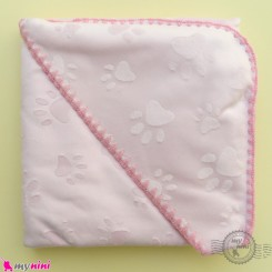پتو نوزاد و کودک کلاه دار 2 لایه طرح ردپا صورتی baby hooded fleece blanket