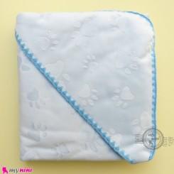 پتو نوزاد و کودک کلاه دار 2 لایه طرح ردپا آبی baby hooded fleece blanket