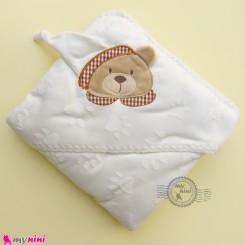 پتو نوزاد و کودک کلاه دار 2 لایه شیری خرس baby hooded fleece blanket