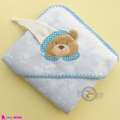 پتو نوزاد و کودک کلاه دار 2 لایه آبی خرس مارک جونیورز baby hooded fleece blanket