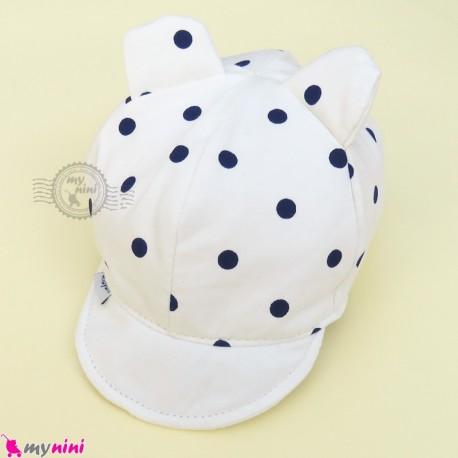 کلاه نقابدار بچه گانه شیری گوش دار خالدار baby cotton cap
