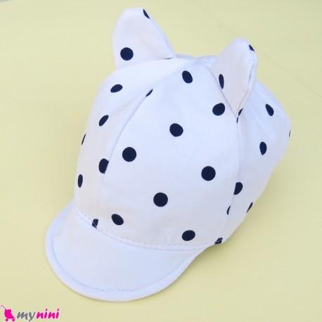 کلاه نقابدار بچه گانه سفید گوش دار خالدار baby cotton cap