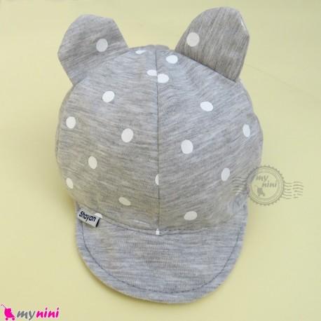 کلاه نقابدار بچه گانه طوسی گوش دار خالدار baby cotton cap