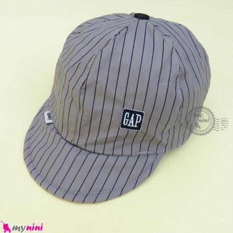 کلاه اسپرت نقابدار بچه گانه طوسی خط دار طرح گپ baby cotton cap