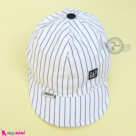 کلاه اسپرت نقابدار بچه گانه سفید خط دار طرح گپ baby cotton cap