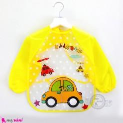 پیشبند لباسی بچه گانه ضدآب زرد تاکسی baby waterproof clothing bibs with sleeves