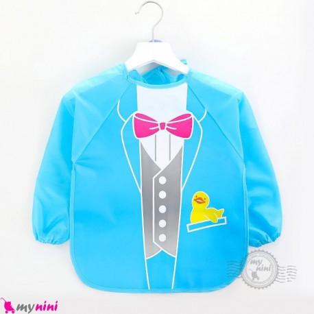 پیشبند لباسی بچه گانه ضدآب طرح کت baby waterproof clothing feeding bibs with sleeves