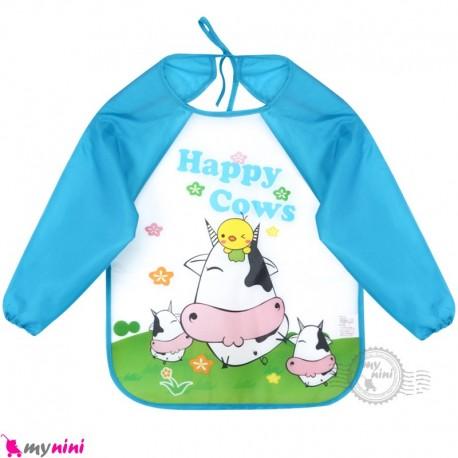 پیشبند لباسی بچه گانه ضدآب جوجه و گاو آبی baby waterproof clothing feeding bibs with sleeves