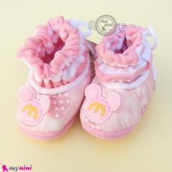 پاپوش مخملی نوزاد و کودک وارداتی صورتی میکی موس Baby footwear
