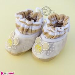 پاپوش مخملی نوزاد و کودک وارداتی نسکافه ای میکی موس Baby footwear