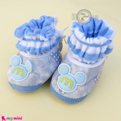 پاپوش مخملی نوزاد و کودک وارداتی آبی میکی موس Baby footwear