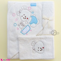 حوله بزرگ کلاه دار نوزاد و کودک 2 تکه رنگ شیری خرس Baby hooded towel