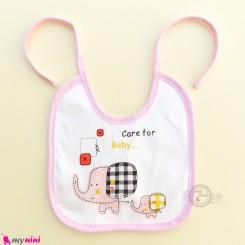 پیشبند 2 لایه وارداتی صورتی فیل Baby cotton cute bibs
