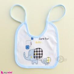 پیشبند نوزادی 2 لایه وارداتی آبی فیل Baby cotton cute bibs