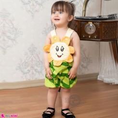 بیلرسوت فانتزی نوزاد و کودک نخی آفتابگردان نارنجی لیمویی 6 تا 12 ماه Baby Shortalls