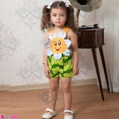 بیلرسوت فانتزی نوزاد و کودک نخی آفتابگردان آبی نارنجی 6 تا 12 ماه Baby Shortalls